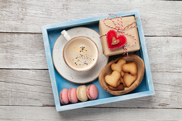 Valentines day gift with coffee and cookies - Stock Photo - Images