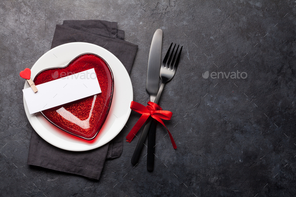 Valentines day or romantic dinner table setting - Stock Photo - Images