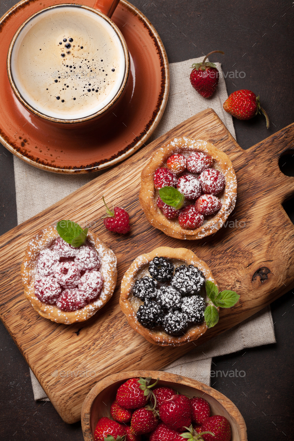 Set of cakes with berries - Stock Photo - Images