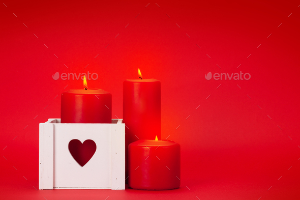 Valentines day greeting card with candles - Stock Photo - Images