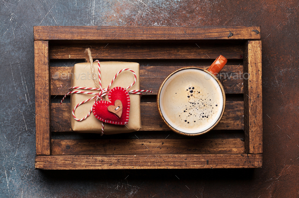 Valentines day card with gift box and coffee cup - Stock Photo - Images