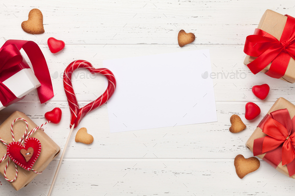 Valentines day gifts and heart gingerbread cookies - Stock Photo - Images