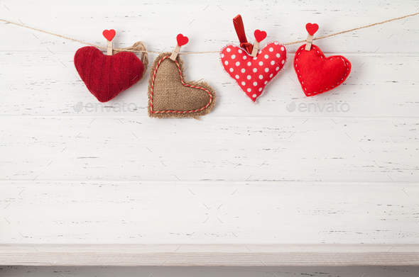 Valentines day card with handmade hearts - Stock Photo - Images