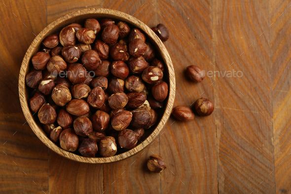 Organic Hazelnuts Nuts - Stock Photo - Images