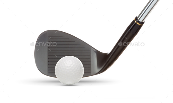 Black Golf Club Wedge Iron and Golf Ball on White Background - Stock Photo - Images