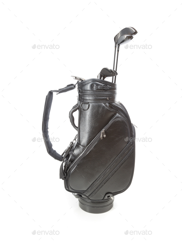 Blank Large Golf Bag with Clubs Isolated on a White Background - Stock Photo - Images