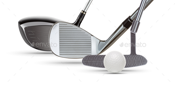 Golf Driver Wood, Iron Wedge, Putter and Ball on White Background - Stock Photo - Images