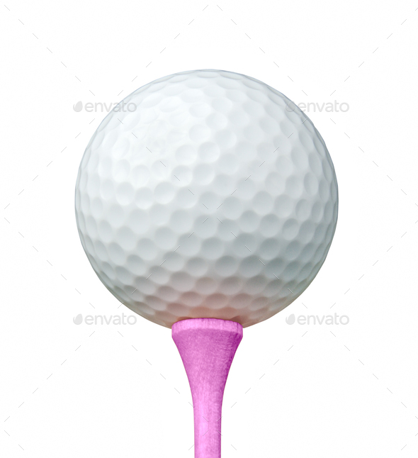 White Golf Ball on Pink Tee Isolated on a White Background - Stock Photo - Images