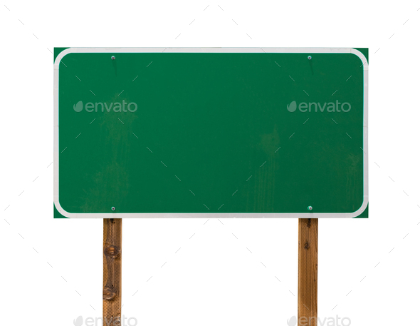Blank Green Road Sign with Wooden Posts Isolated on a White Background - Stock Photo - Images