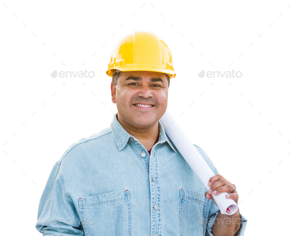 Hispanic Male Contractor In Hard Hat with Blueprint Plans Isolated on a White Background - Stock Photo - Images
