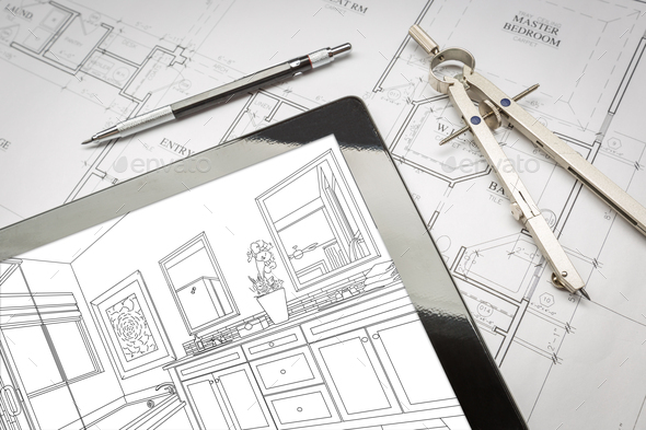 Computer Tablet with Master Bathroom Design Over House Plans, Pencil and Compass - Stock Photo - Images