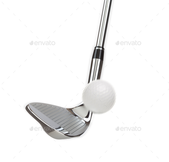 Chrome Golf Club Wedge Iron Hitting Golf Ball on White Background - Stock Photo - Images