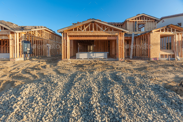 New Wood Houses Framing At Construction Site Stock Photo By Andy Dean Photog