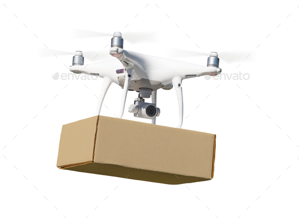 Unmanned Aircraft System (UAS) Quadcopter Drone Carrying Blank Package On White - Stock Photo - Images