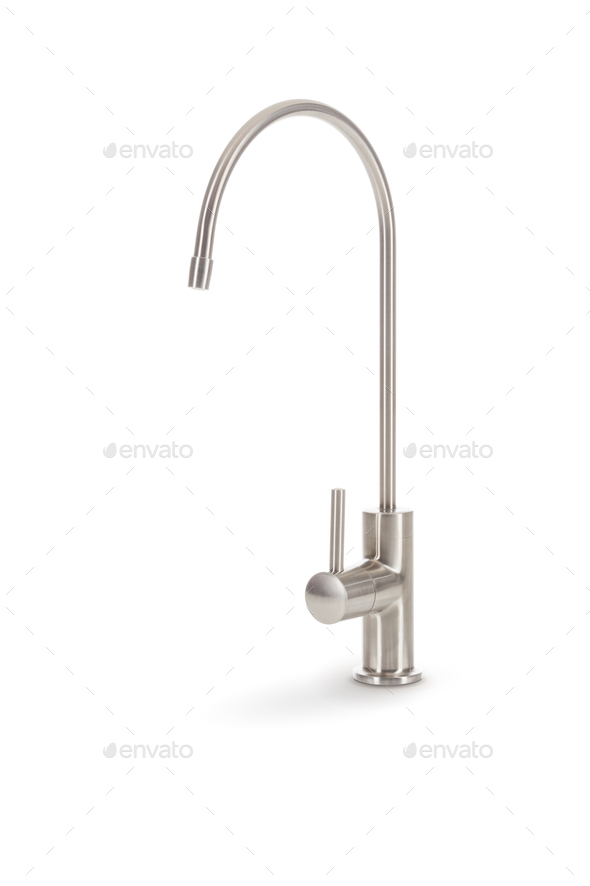 Custom Stainless Steel Faucet Isolated on a White Background - Stock Photo - Images