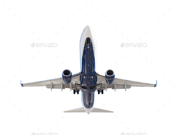 Bottom of Passenger Airplane Isolated on a White Background - Stock Photo - Images