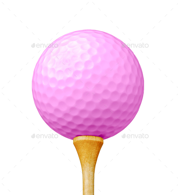 Pink Golf Ball on Tee Isolated on a White Background - Stock Photo - Images