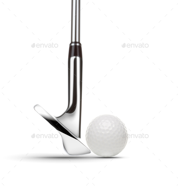 Chrome Golf Club Wedge Iron and Golf Ball on White Background - Stock Photo - Images