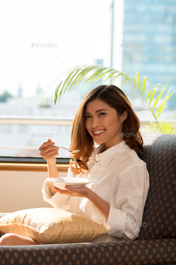 Pretty Woman Having Breakfast - Stock Photo - Images
