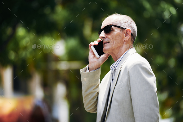 Calling senior man - Stock Photo - Images
