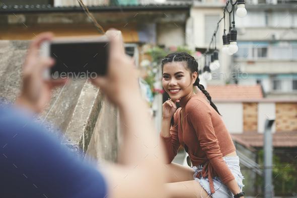 Taking photo girlfriend - Stock Photo - Images