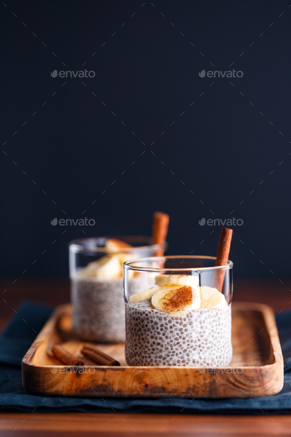Chia pudding with coconut milk and banana - Stock Photo - Images