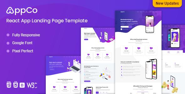 AppCo - React App Landing page Template
