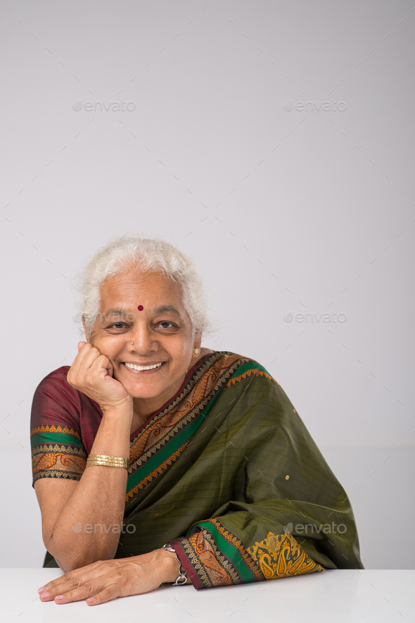 Cheerful elderly Indian woman - Stock Photo - Images