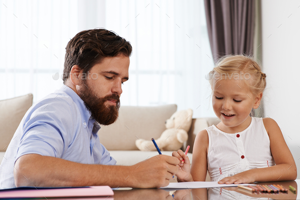 Drawing with daughter - Stock Photo - Images