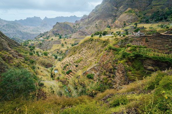 Great panorama view of terraces and farms fields near to Ribeira Grande. Santo Antao Island, Cape - Stock Photo - Images