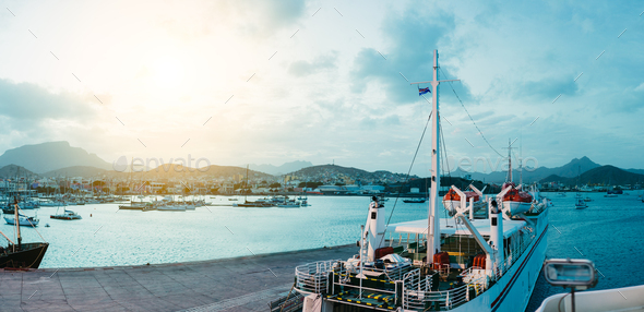 Ferry in Mindelo Harbor in the early morning light on Sao Vicente Island, Cape Verde - Stock Photo - Images