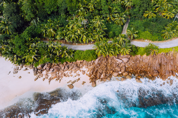Seychelles Mahe island aerial drone landscape of coastline. Road along coastline of paradise sandy - Stock Photo - Images