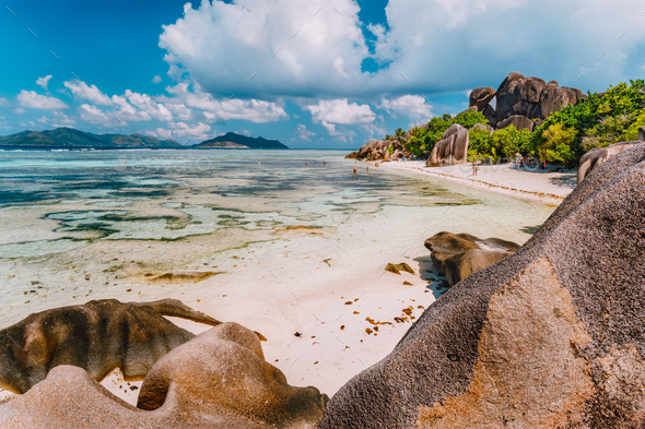 Anse Source d'Argent - exotic paradise beach on island La Digue at Seychelles - Stock Photo - Images