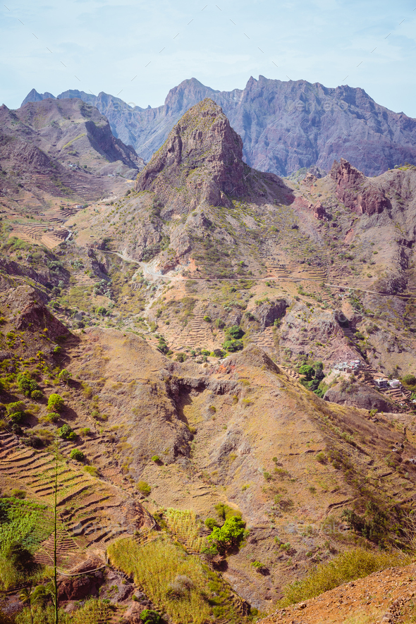 Santo Antao Island, Cape Verde. Amazing huge barren mountain rock in arid climate landscape - Stock Photo - Images