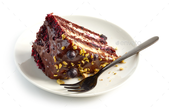 piece of chocolate and blackcurrant cake - Stock Photo - Images