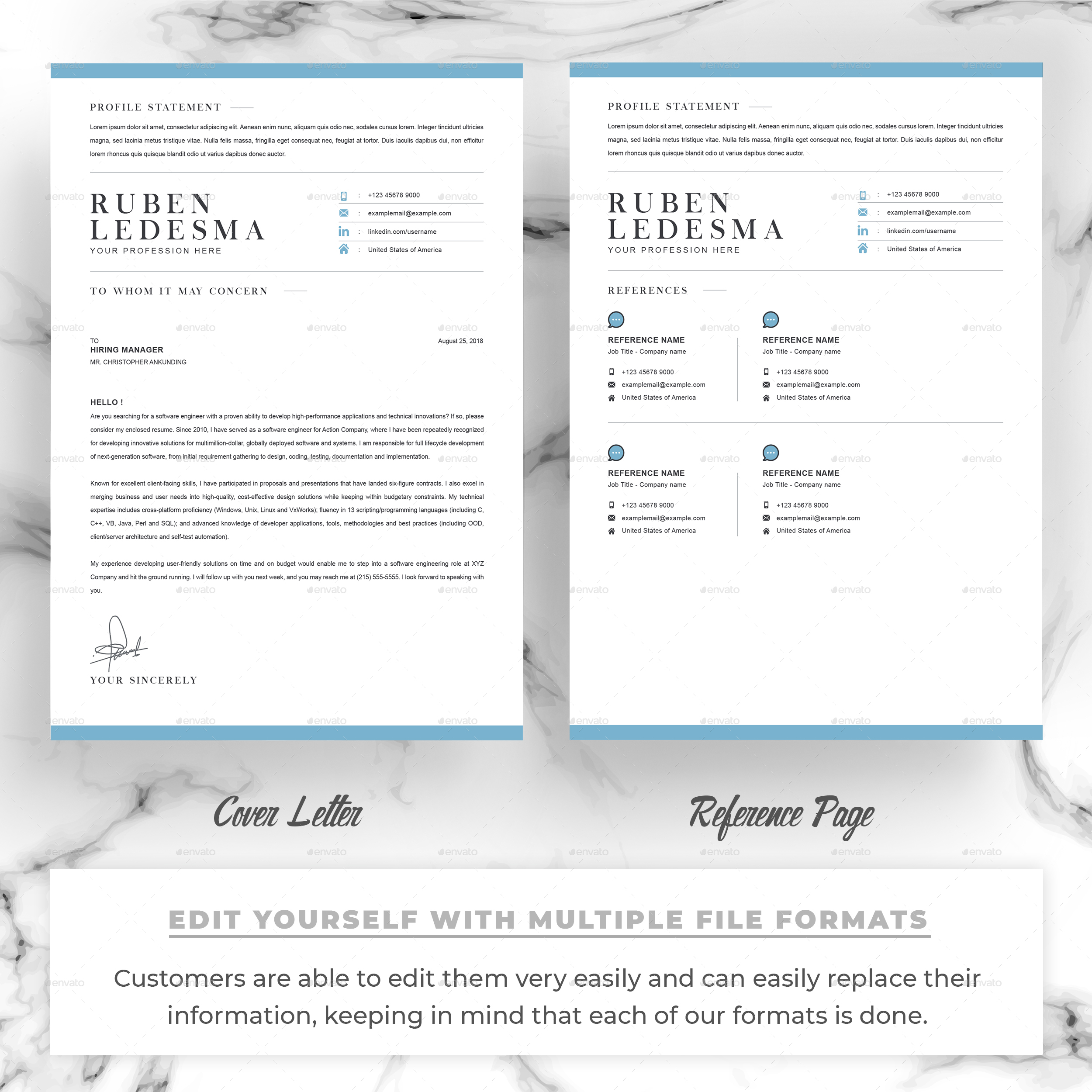CV Template with Word Cover Letter