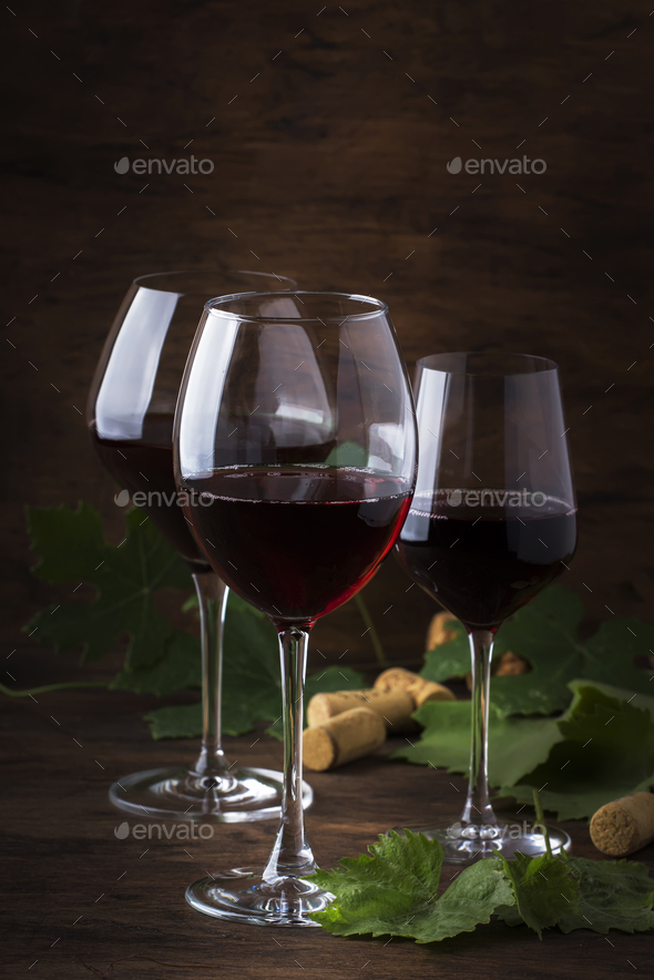 Selection of red wines on wine tasting - Stock Photo - Images