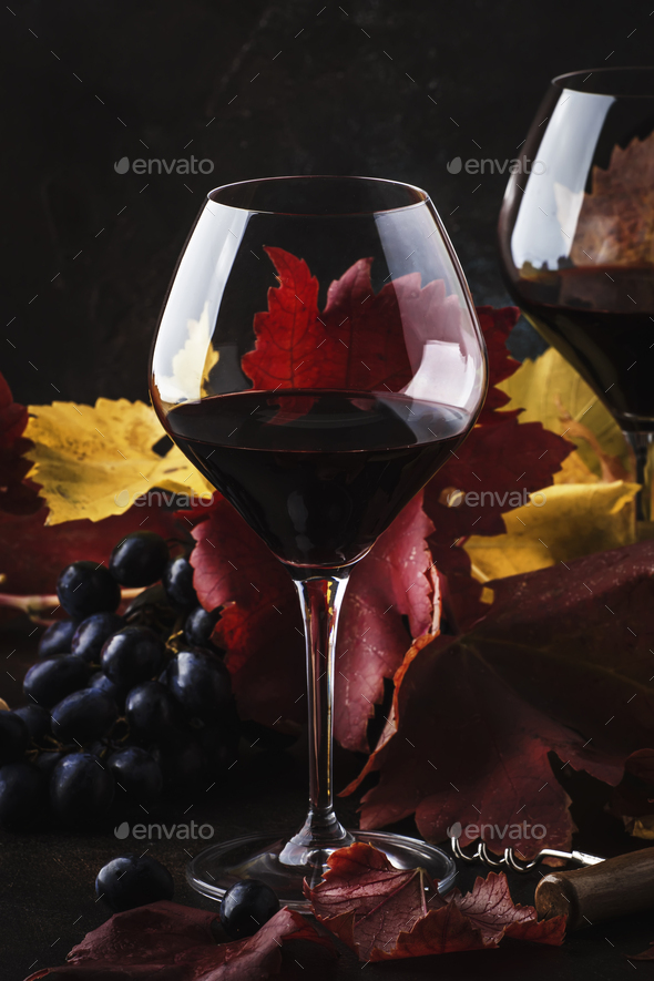 Dry Red Wine in big wine glass - Stock Photo - Images