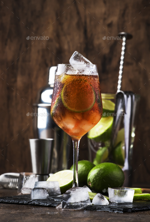 cocktail Long Island with vodka, gin, tequila - Stock Photo - Images