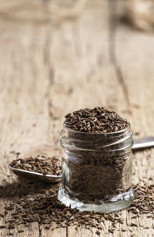 Caraway grain in the jar - Stock Photo - Images