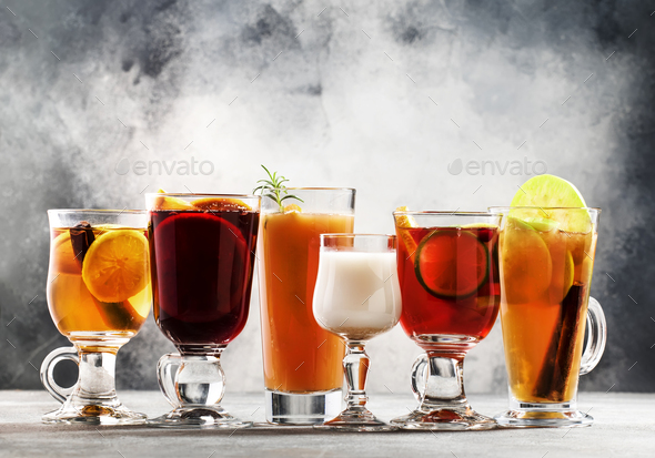 autumn or winter alcoholic hot cocktails - Stock Photo - Images