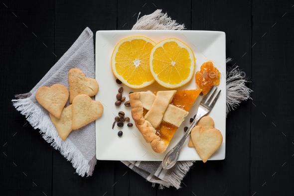 slice of pie with orange - Stock Photo - Images