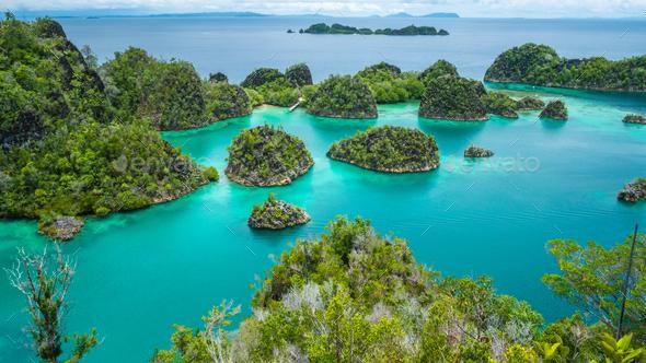 Painemo Island, Blue Lagoon, Raja Ampat, West Papua, Indonesia - Stock Photo - Images