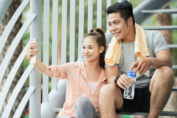 Couple taking selfie - Stock Photo - Images
