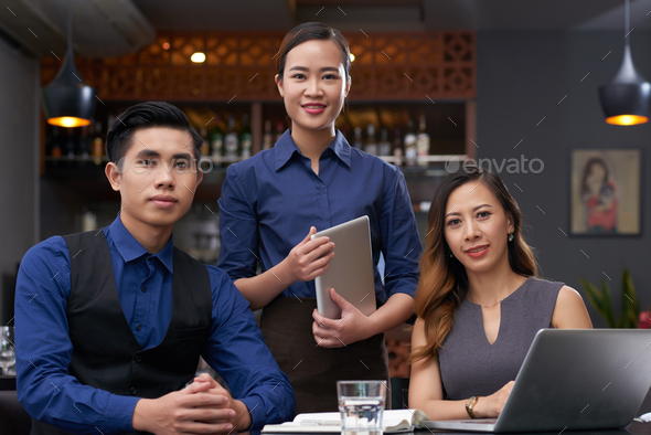 Happy restaurant team - Stock Photo - Images