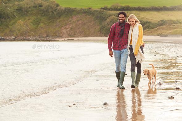 Loving Couple With Pet Dog Hugging Walking Along Beach Shoreline - Stock Photo - Images