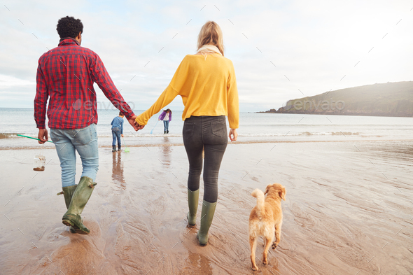 Rear View Of Multi-Cultural Family With Pet Dog Walking Along Beach Shoreline On Winter Vacation - Stock Photo - Images