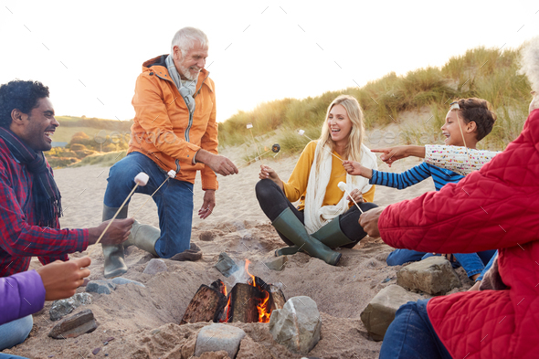 Multi-Generation Family Toasting Marshmallows Around Fire On Winter Beach Vacation - Stock Photo - Images