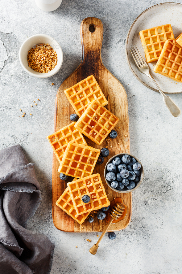Delicious Breakfast with waffles - Stock Photo - Images