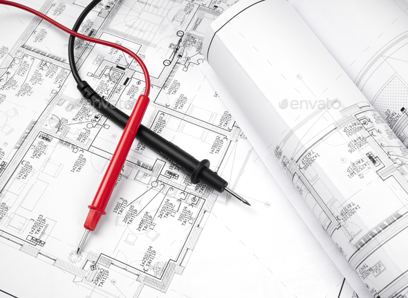 The plan of electrical installation with multimeter - Stock Photo - Images
